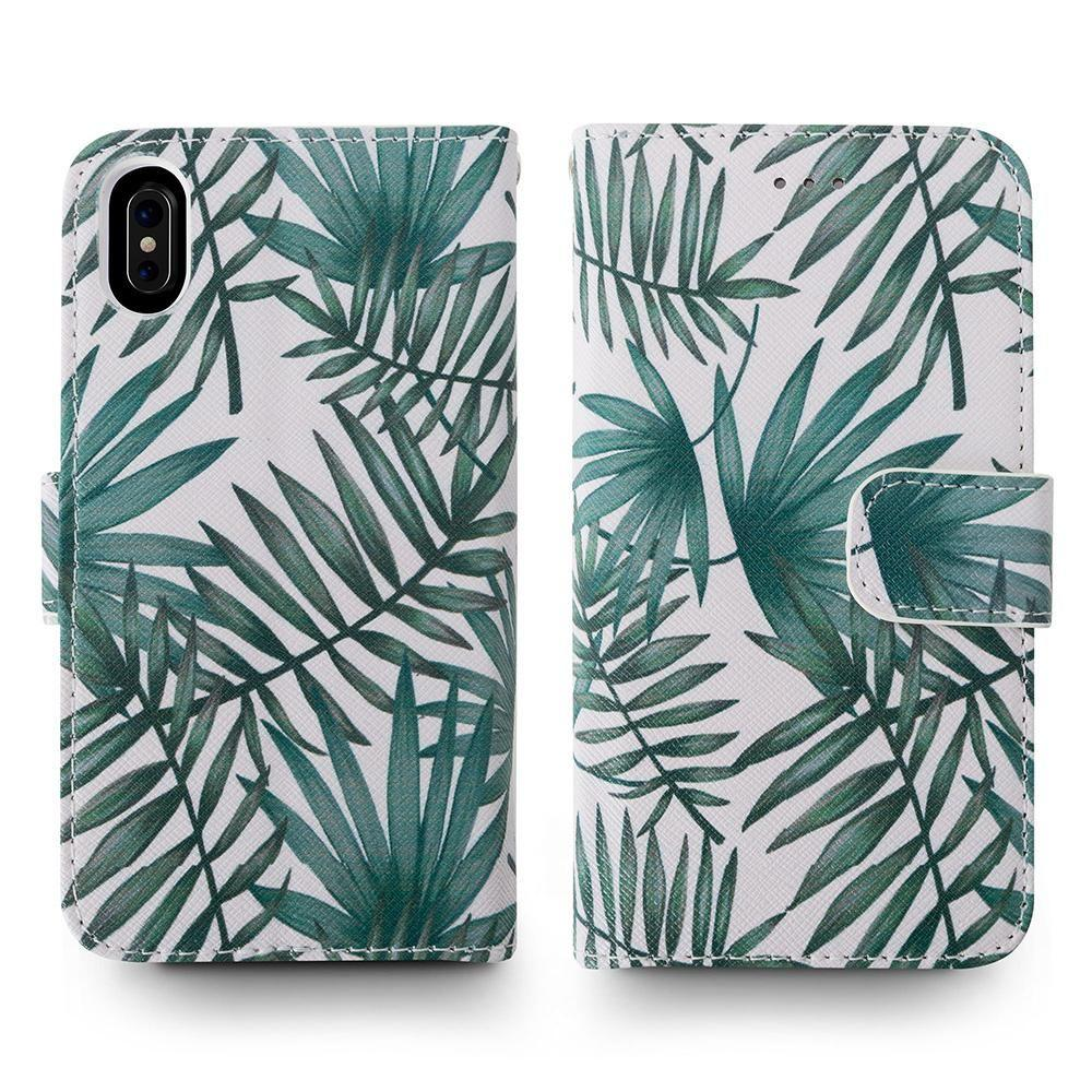 - Palm Leaves Printed Wallet with Matching Detachable Slim Case and Wristlet, White/Green for Apple iPhone X