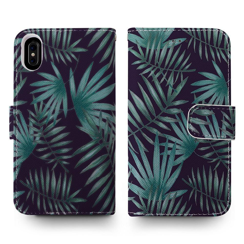 - Palm Leaves Printed Wallet with Matching Detachable Slim Case and Wristlet, Navy Blue/Green for Apple iPhone X