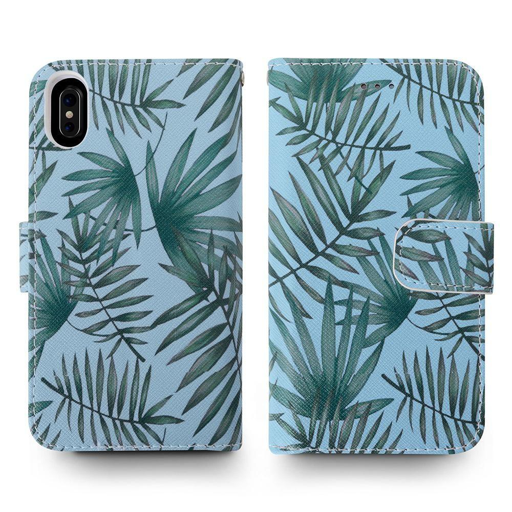 - Palm Leaves Printed Wallet with Matching Detachable Slim Case and Wristlet, Light Blue/Green for Apple iPhone X