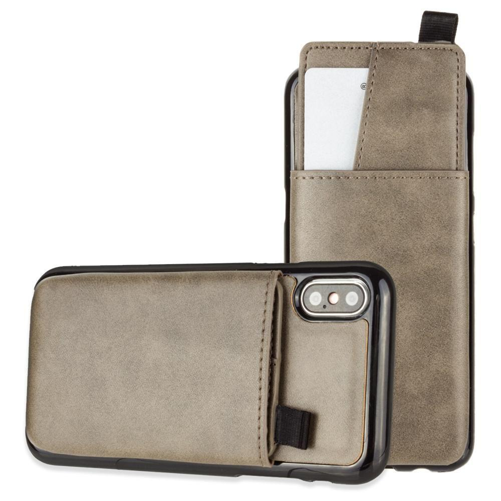 - Vegan Leather Case with Pull-Out Card Slot Organizer, Gray for Apple iPhone X