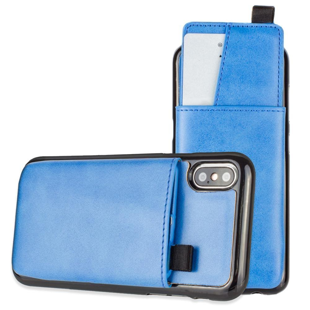 - Vegan Leather Case with Pull-Out Card Slot Organizer, Blue for Apple iPhone X