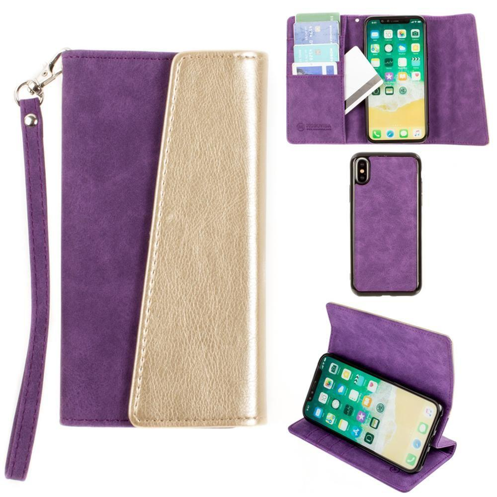 - UltraSuede Metallic Color Block Flap Wallet with Matching detachable Case and strap, Purple/Gold for Apple iPhone X