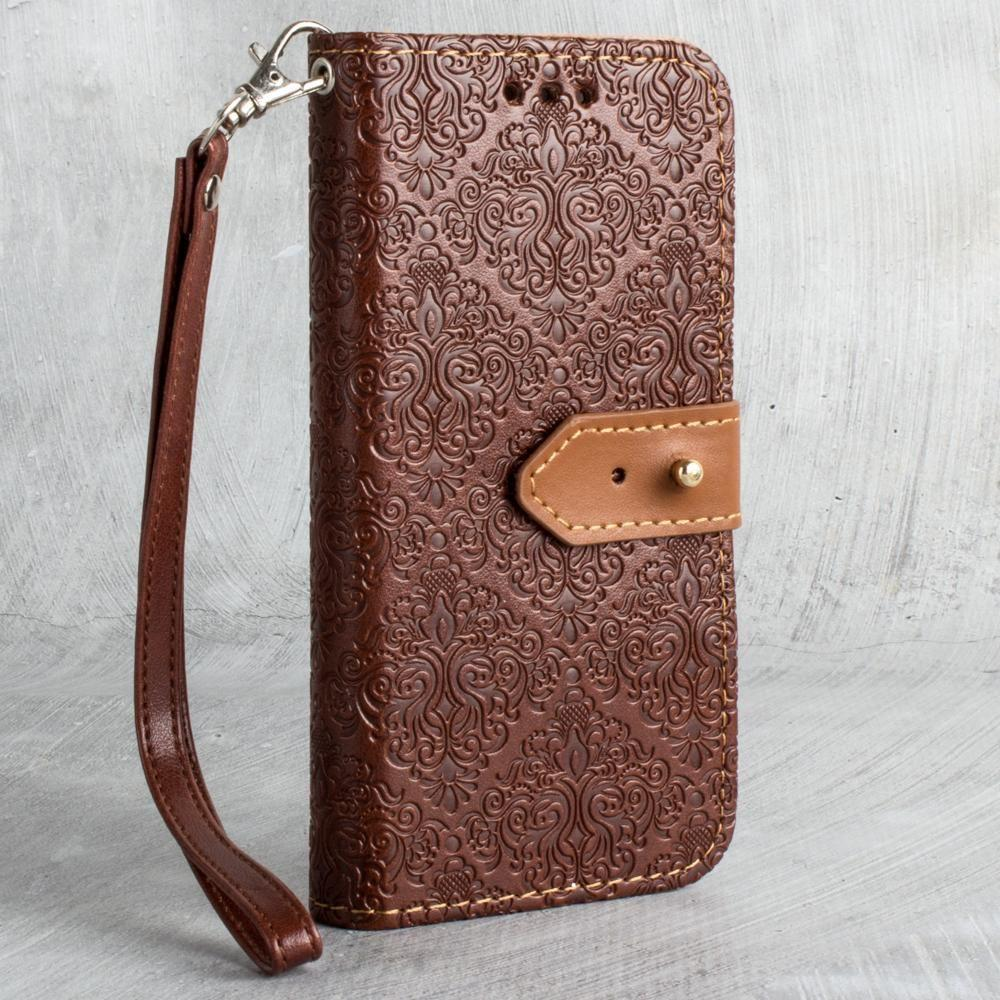 - Vintage Floral wallet with detachable matching slim case and wristlet, Maroon for Apple iPhone X
