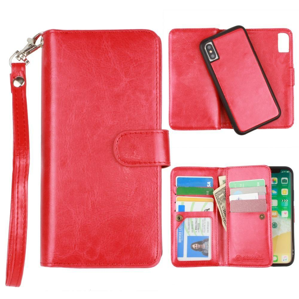- Multi-Card Slot Wallet Case with Matching Detachable Case and Wristlet, Red for Apple iPhone X
