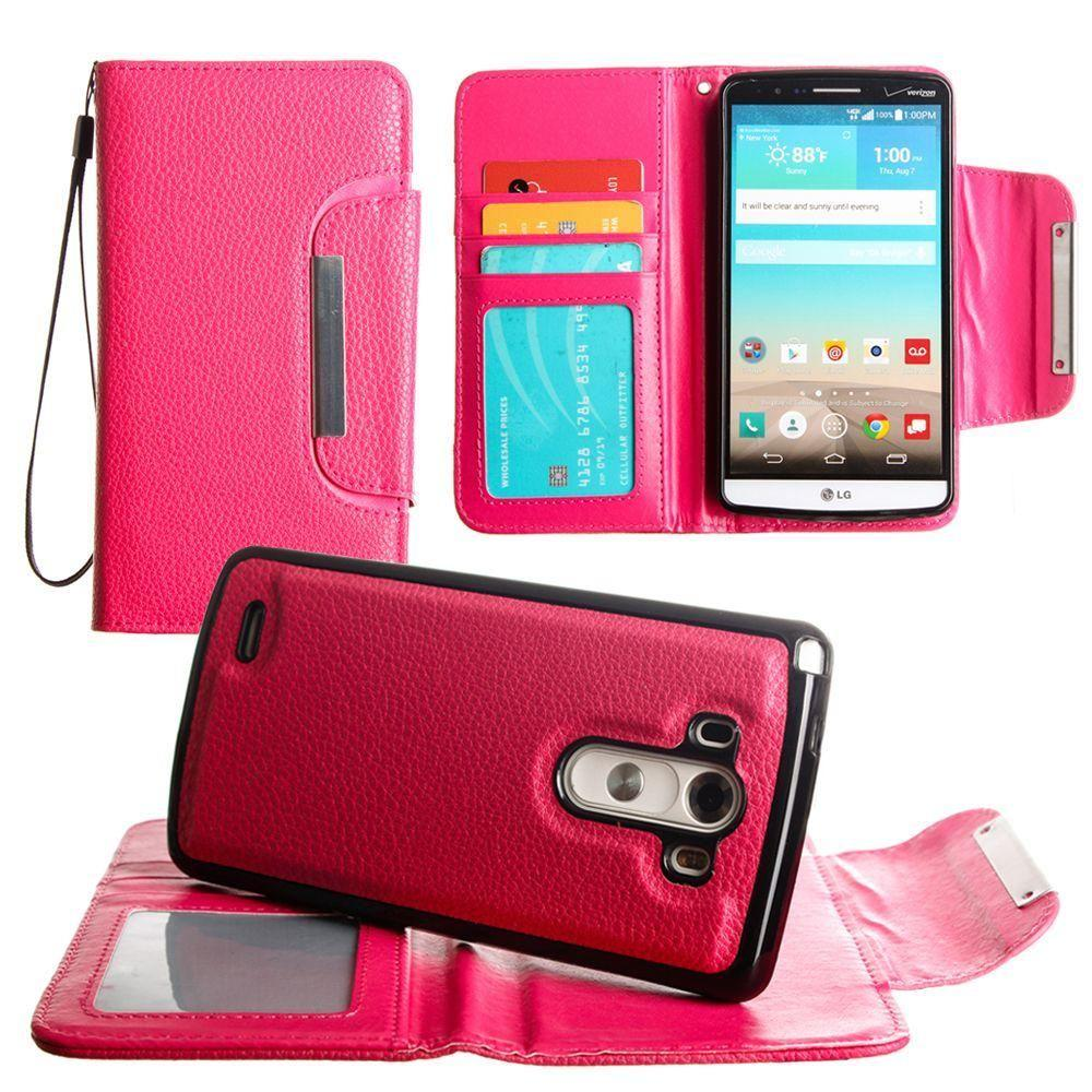 - Compact Wallet Case with Detachable Slim Case, Card Slots and wristlet, Hot Pink