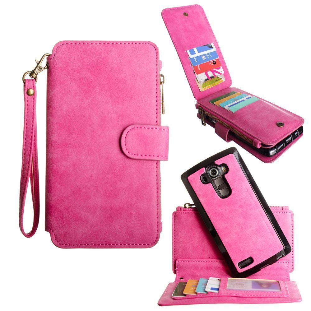 - Luxury Wallet with Removable Case and Flap Card Holder, Hot Pink