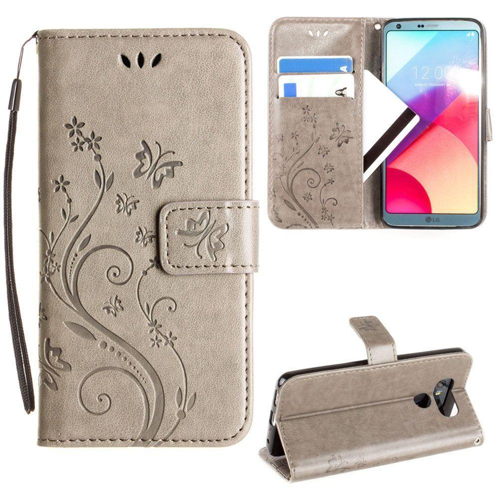 - Embossed Butterfly Design Leather Folding Wallet Case with Wristlet, Gray