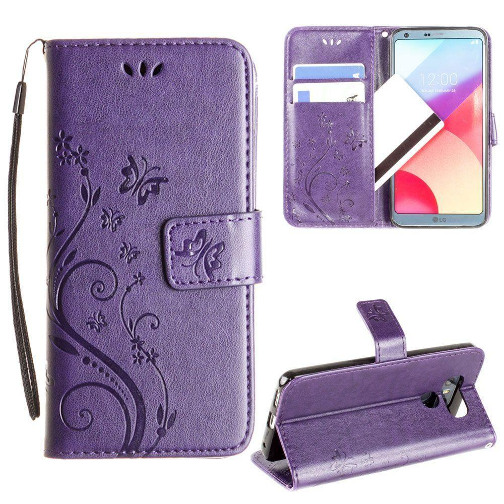 - Embossed Butterfly Design Leather Folding Wallet Case with Wristlet, Purple