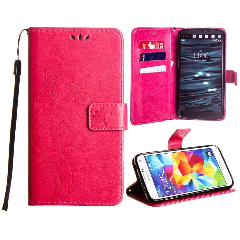- Embossed Butterfly Design Leather Folding Wallet Case with Wristlet, Hot Pink