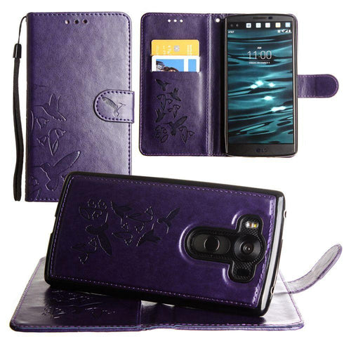 Lg V10 - Embossed Humming Bird Design Wallet Case with Matching Removable Case and Wristlet, Purple
