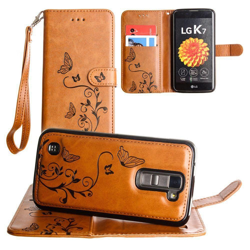 Lg K7 - Embossed Butterfly Design Wallet Case with Detachable Matching Case and Wristlet, Brown