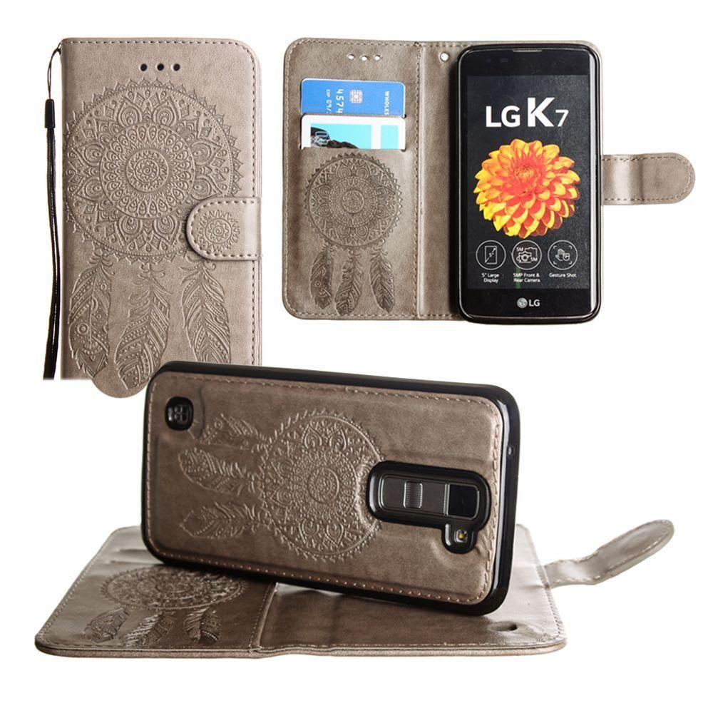 - Embossed Dream Catcher Design Wallet Case with Detachable Matching Case and Wristlet, Tan