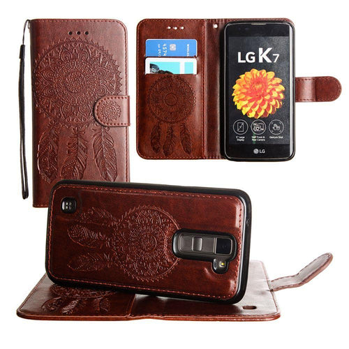 Lg K7 - Embossed Dream Catcher Design Wallet Case with Detachable Matching Case and Wristlet, Brown
