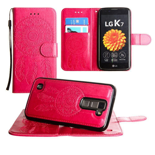 Lg K7 - Embossed Dream Catcher Design Wallet Case with Detachable Matching Case and Wristlet, Pink