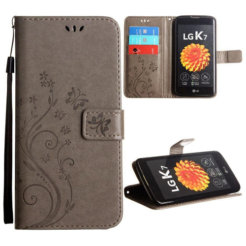 Lg K7 - Embossed Butterfly Design Leather Folding Wallet Case with Wristlet, Gray