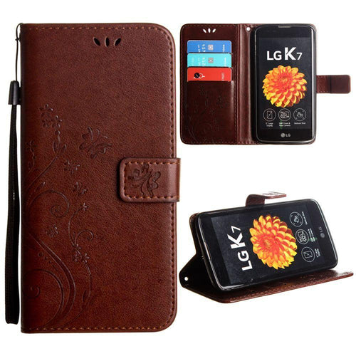 Lg K7 - Embossed Butterfly Design Leather Folding Wallet Case with Wristlet, Coffee