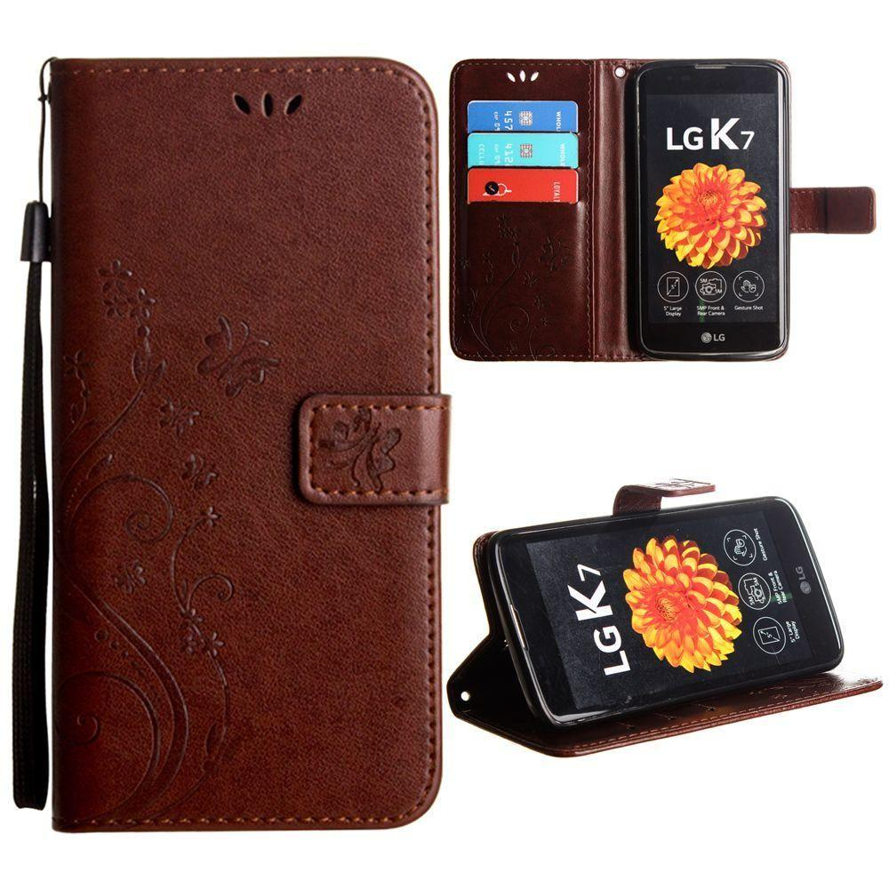 - Embossed Butterfly Design Leather Folding Wallet Case with Wristlet, Coffee