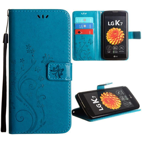 Lg K7 - Embossed Butterfly Design Leather Folding Wallet Case with Wristlet, Teal