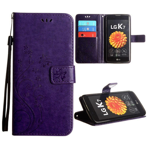 Lg K7 - Embossed Butterfly Design Leather Folding Wallet Case with Wristlet, Purple
