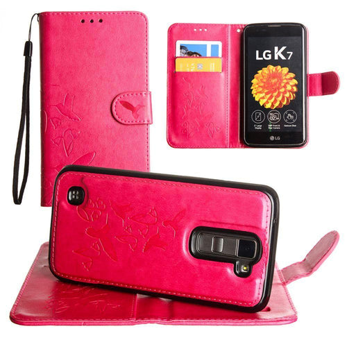 Lg K7 - Embossed Humming Bird Design Wallet Case with Matching Removable Case and Wristlet, Hot Pink