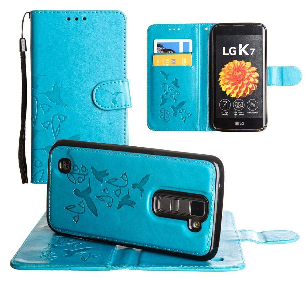 - Embossed Humming Bird Design Wallet Case with Matching Removable Case and Wristlet, Teal Blue