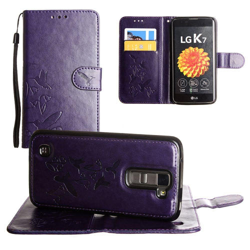 Lg K7 - Embossed Humming Bird Design Wallet Case with Matching Removable Case and Wristlet, Purple