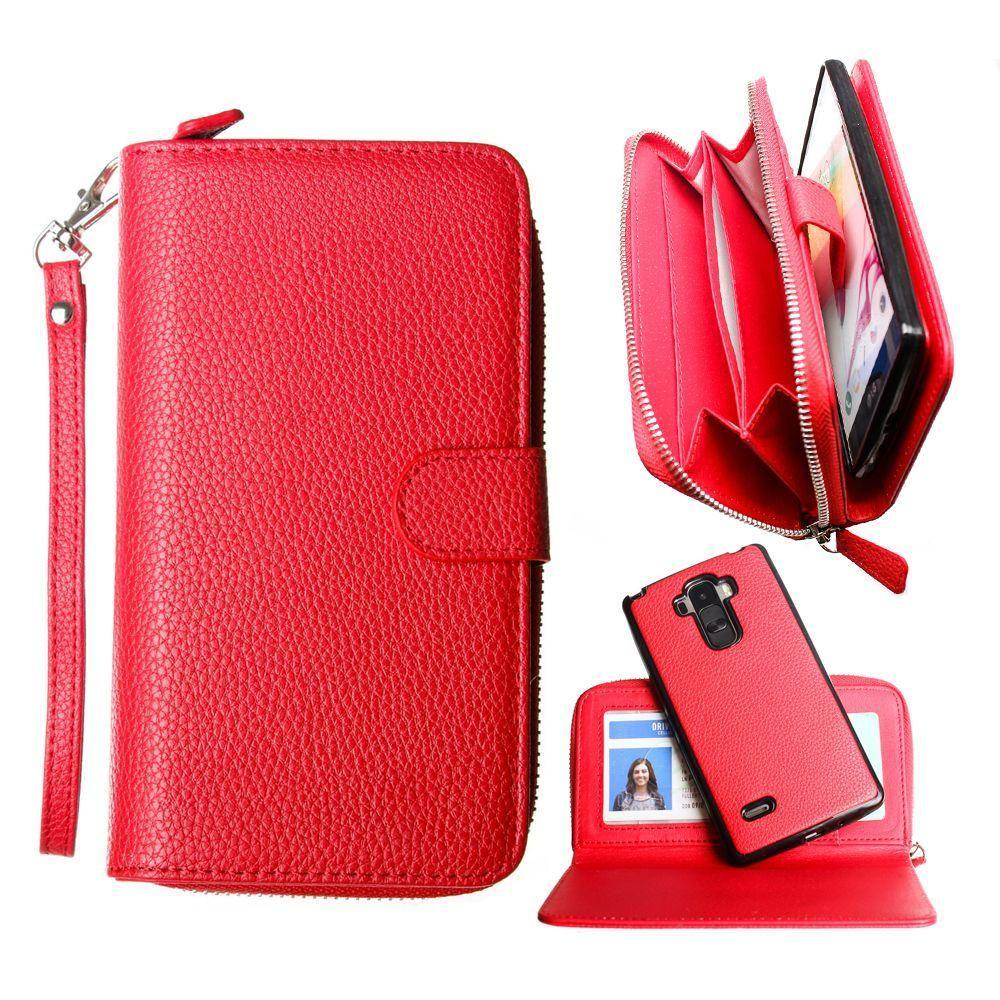 - Compact Clutch Wallet with detachable magnetic case and wristlet, Red