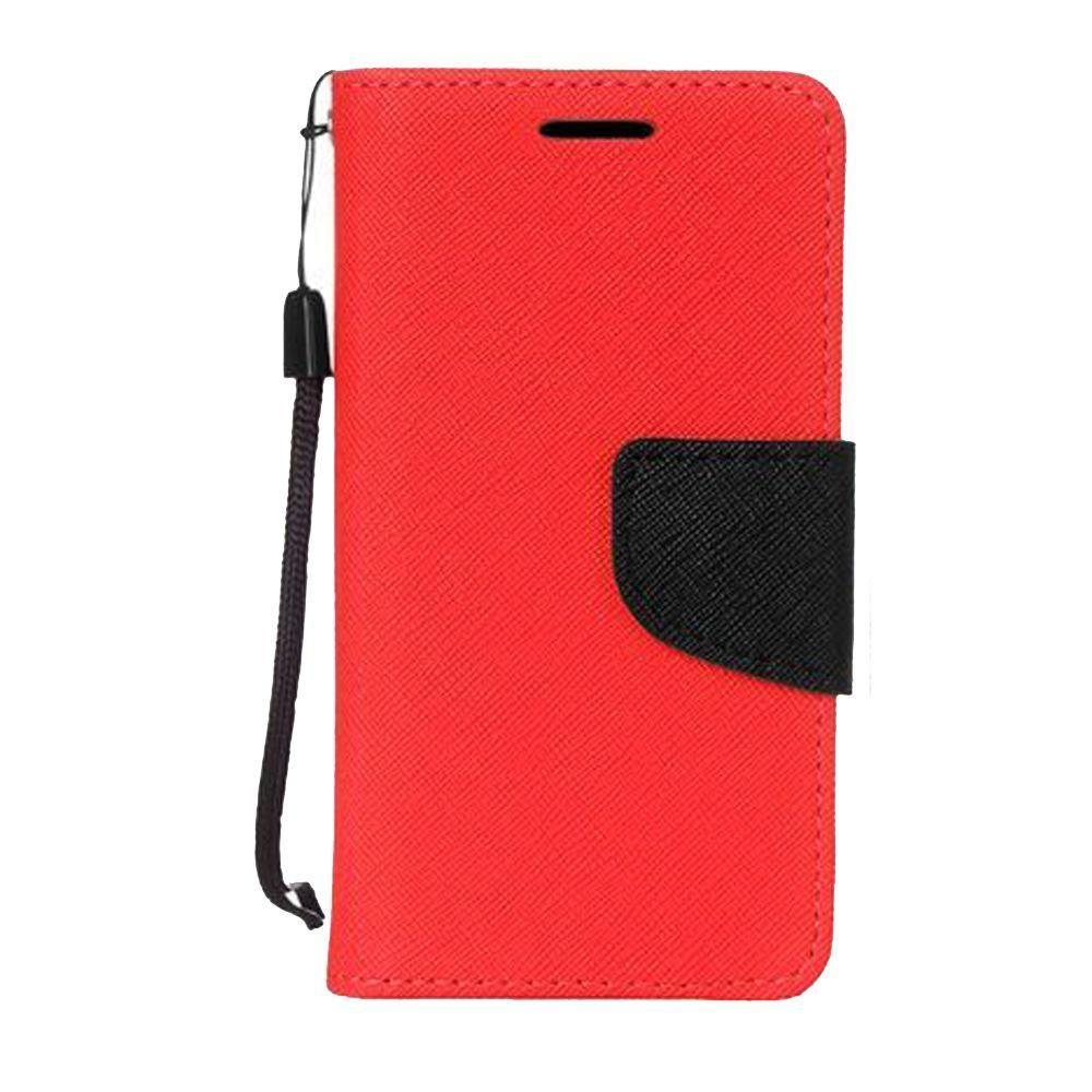 - Premium 2 Tone Leather Folding Wallet Case, Red/Black