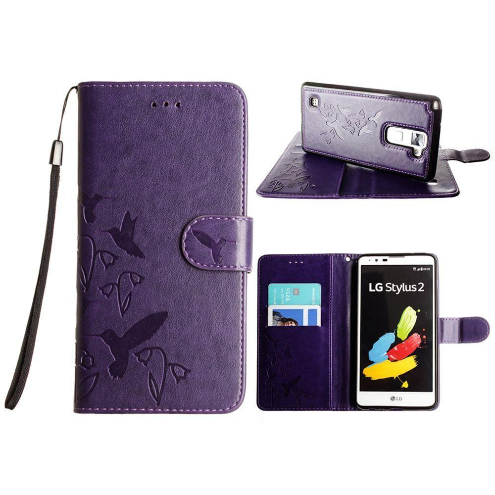 - Embossed Humming Bird Design Wallet Case with Matching Removable Case and Wristlet, Purple
