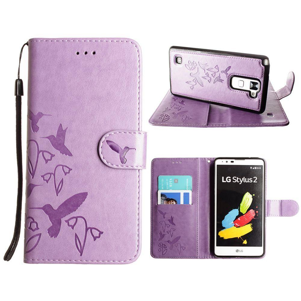 - Embossed Humming Bird Design Wallet Case with Matching Removable Case and Wristlet, Lavender