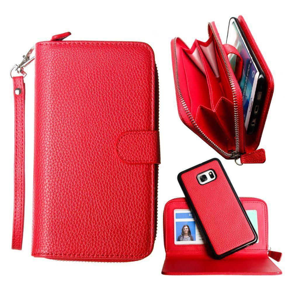 - Compact Clutch Wallet with detachable magnetic case and wristlet, Red for Samsung Galaxy S6 Edge Plus