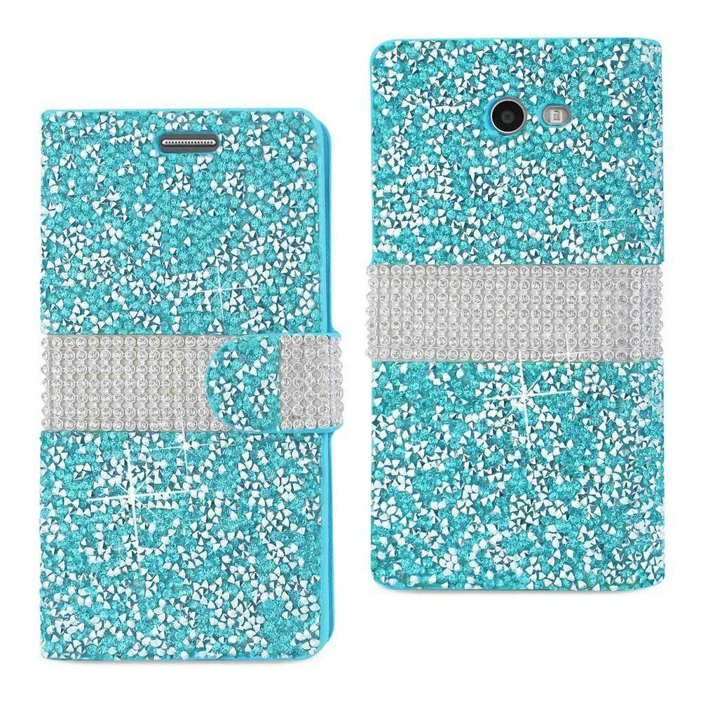 - Full Bling Shimmering Rhinestone Phone Wallet Case, Blue/Silver