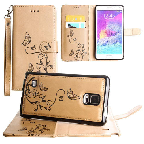 Samsung Galaxy Note 4 - Embossed Butterfly Design Wallet Case with Detachable Matching Case and Wristlet, Taupe for Samsung Galaxy Note 4