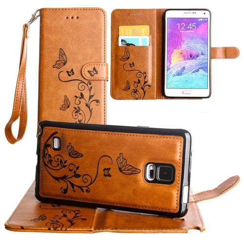 Samsung Galaxy Note 4 - Embossed Butterfly Design Wallet Case with Detachable Matching Case and Wristlet, Brown for Samsung Galaxy Note 4