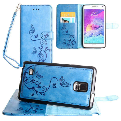 Samsung Galaxy Note 4 - Embossed Butterfly Design Wallet Case with Detachable Matching Case and Wristlet, Teal Blue for Samsung Galaxy Note 4