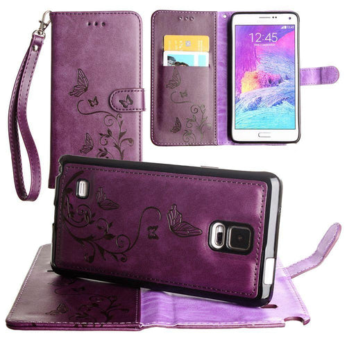 Samsung Galaxy Note 4 - Embossed Butterfly Design Wallet Case with Detachable Matching Case and Wristlet, Purple for Samsung Galaxy Note 4