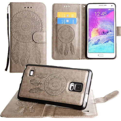 Samsung Galaxy Note 4 - Embossed Dream Catcher Design Wallet Case with Detachable Matching Case and Wristlet, Tan for Samsung Galaxy Note 4