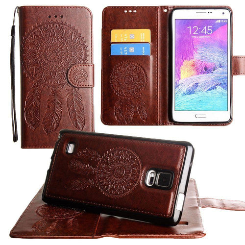 Samsung Galaxy Note 4 - Embossed Dream Catcher Design Wallet Case with Detachable Matching Case and Wristlet, Brown for Samsung Galaxy Note 4