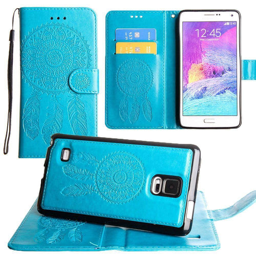 Samsung Galaxy Note 4 - Embossed Dream Catcher Design Wallet Case with Detachable Matching Case and Wristlet, Teal for Samsung Galaxy Note 4
