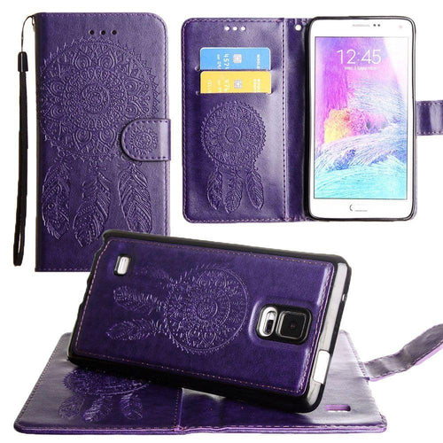 Samsung Galaxy Note 4 - Embossed Dream Catcher Design Wallet Case with Detachable Matching Case and Wristlet, Purple for Samsung Galaxy Note 4