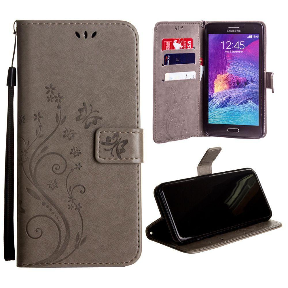 - Embossed Butterfly Design Leather Folding Wallet Case with Wristlet, Gray for Samsung Galaxy Note 4