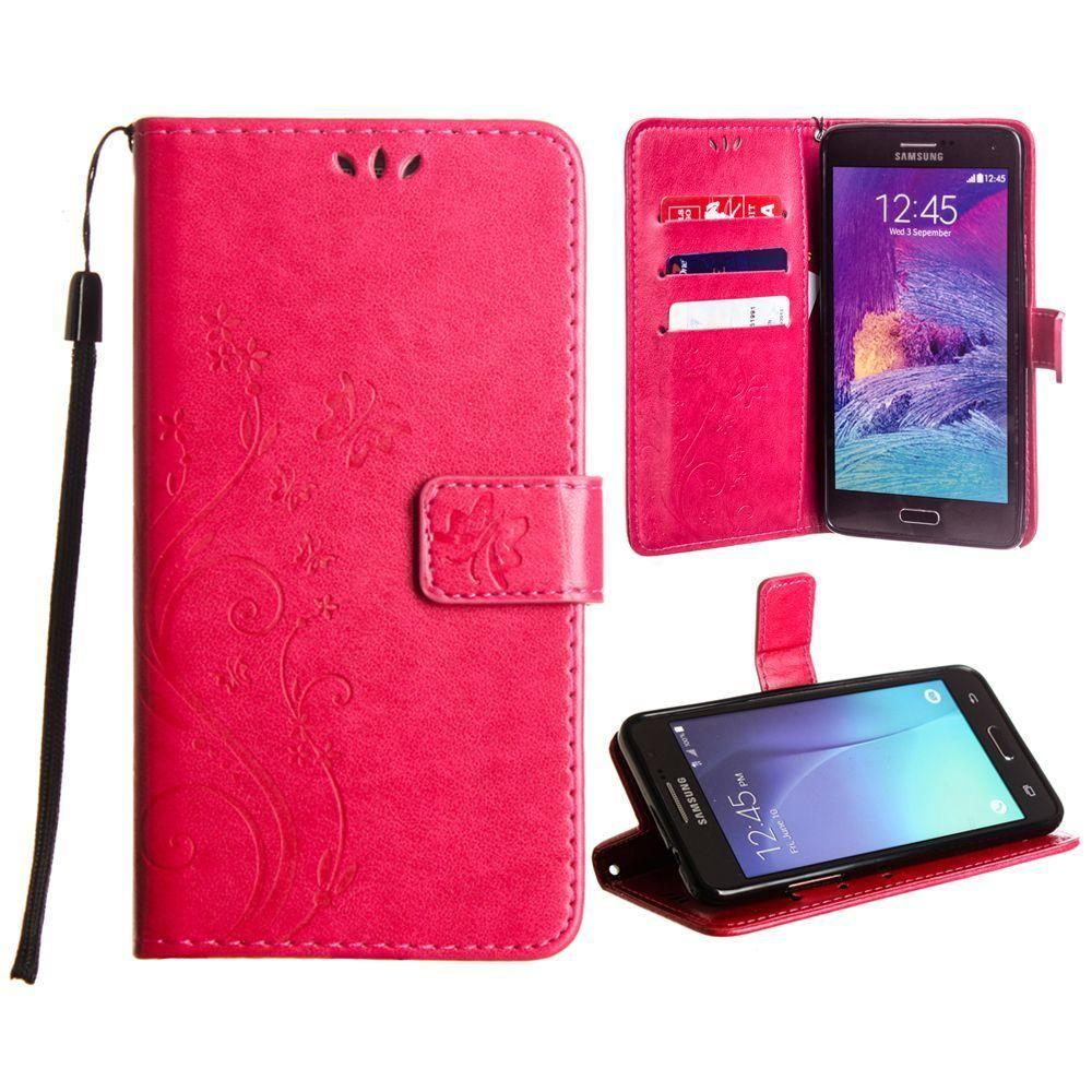 - Embossed Butterfly Design Leather Folding Wallet Case with Wristlet, Hot Pink for Samsung Galaxy Note 4