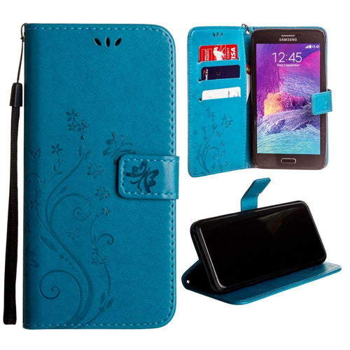 Samsung Galaxy Note 4 - Embossed Butterfly Design Leather Folding Wallet Case with Wristlet, Teal for Samsung Galaxy Note 4