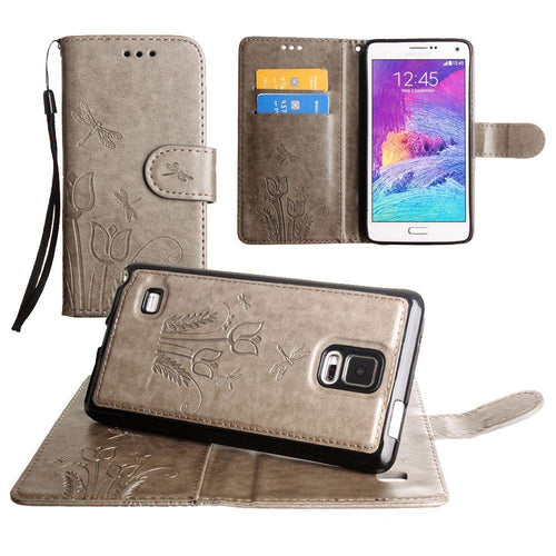 Samsung Galaxy Note 4 - Embossed dragonfly over tulip design wallet case with Matching detachable magnetic case and wristlet, Gray for Samsung Galaxy Note 4