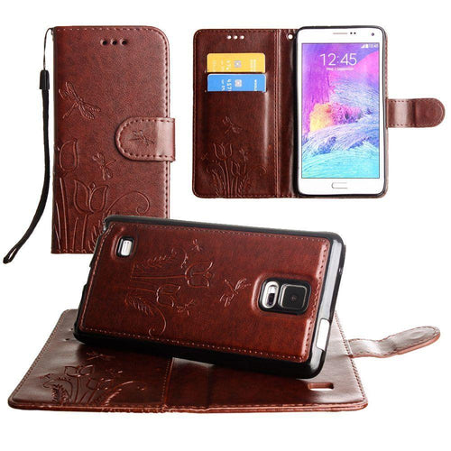 Samsung Galaxy Note 4 - Embossed dragonfly over tulip design wallet case with Matching detachable magnetic case and wristlet, Brown for Samsung Galaxy Note 4