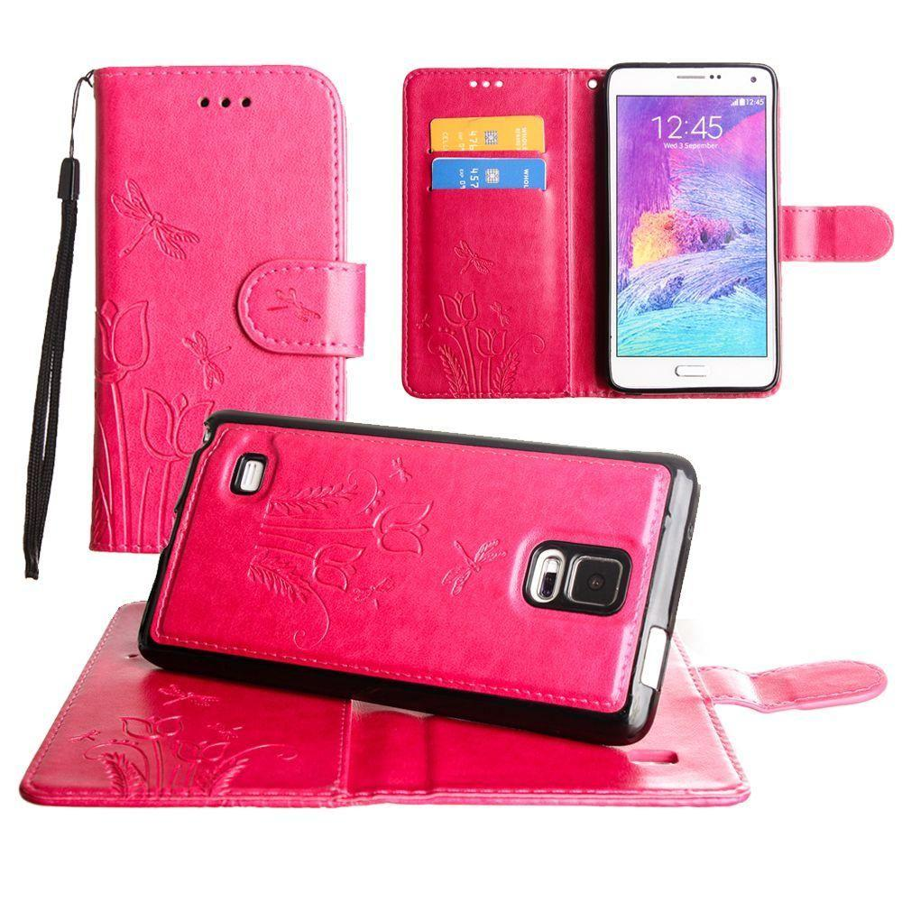 - Embossed dragonfly over tulip design wallet case with Matching detachable magnetic case and wristlet, Pink for Samsung Galaxy Note 4