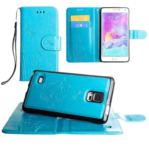 Samsung Galaxy Note 4 - Embossed dragonfly over tulip design wallet case with Matching detachable magnetic case and wristlet, Teal for Samsung Galaxy Note 4