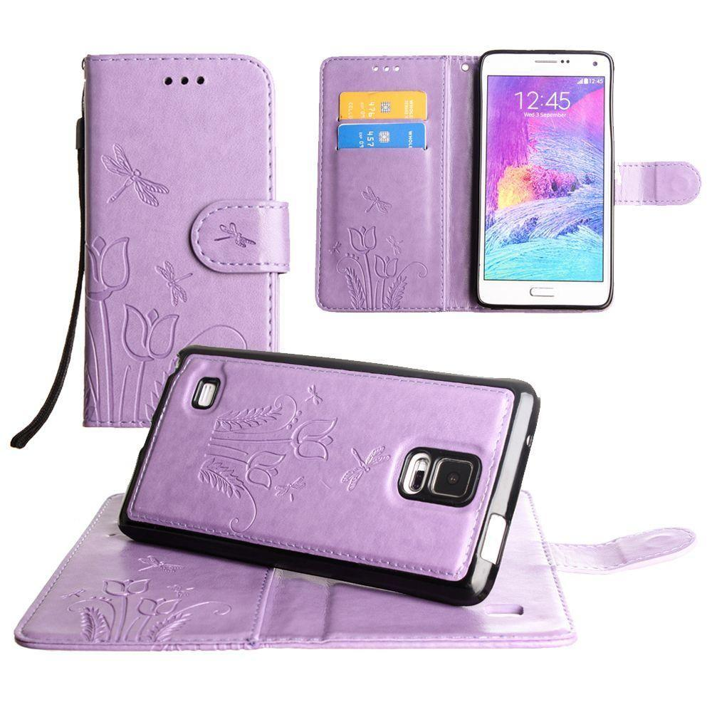 - Embossed dragonfly over tulip design wallet case with Matching detachable magnetic case and wristlet, Lavender for Samsung Galaxy Note 4