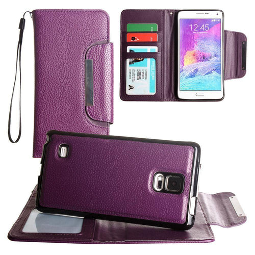 Samsung Galaxy Note 4 - Compact Wallet Case with Detachable Slim Case, Card Slots and wristlet, Purple