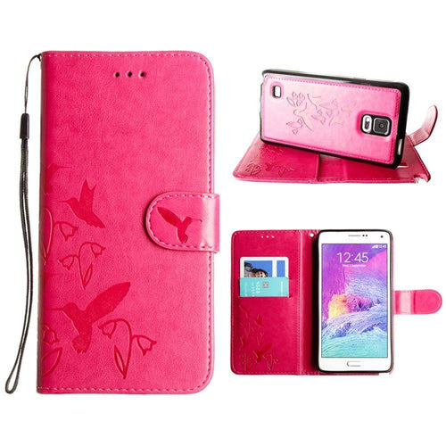 Samsung Galaxy Note 4 - Embossed Humming Bird Design Wallet Case with Matching Removable Case and Wristlet, Hot Pink for Samsung Galaxy Note 4